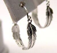 Sterling Silver Feather Hoop Earrings 3/4 inch Oxidized