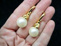Vintage-1990's Gold Tone Faux Pearl Pierced Dangle Earrings