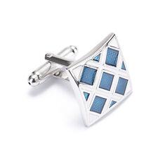 Men's Blue Lattice Cufflinks Stainless Steel Men Wedding Cuff Links