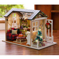 DIY Miniature Wooden Dollhouse Kit Blue Doll House Beauty Cottage LED Light Gift