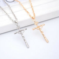 Gold Plated Necklace Women Men Crucifix Jesus Cross Pendant Jewelry