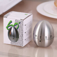 Mechanical Timer Kitchen Cooking 60 Minutes Alarm Stainless Steel Egg  IWQ