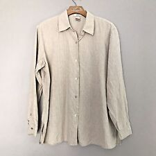 Edward 100% Linen Top Blouse Shirt Size Large Women's Long Sleeve Beige/Khaki