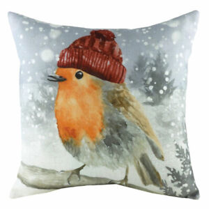Evans Lichfield Christmas Snowy Robin with Hat Cushion Cover, Multi, 43 x 43 Cm
