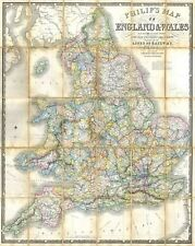 1860 Philips Folding or Pocket Map of England and Wales