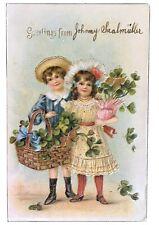 Vintage Postcard - Boy & Girl with Basket Of Shamrocks 1907