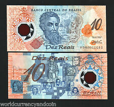 BRAZIL 10 RIELS P248A 2000 COMMEMORATIVE POLYMER UNC LATINO CURRENCY MONEY NOTE