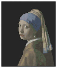 Vermeer's girl with a pearl earring cross stitch kit par florashell