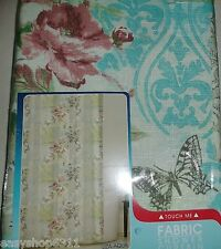 "Liza Floral Fabric Shower Curtain Aqua 70""X 72"" By Maytex Mills New"