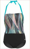 new Nike women swimwear swimsuit NESSA405-001 SU29021 black blue sz L $88