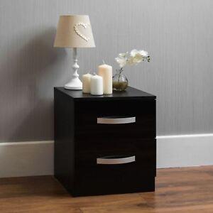 Hulio High Gloss Bedside Table Black 2 Drawer Metal Handles Bedroom Furniture
