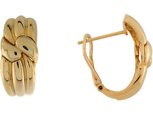 10k or 14k Yellow Gold Simple Twisted Ribbon French Clip Drop Earrings