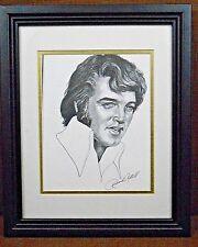Elvis Presley Framed Pencil Drawing Portrait Vintage Memorabilia Art Rock & Roll
