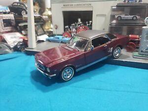 Danbury Mint 1966 66 Ford Mustang Hardtop Maroon 1/24 scale BEAUTIFUL NICE CAR
