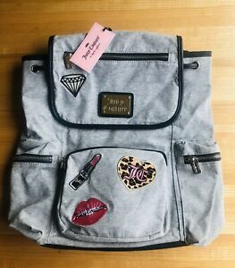 Juicy Couture Backpack Book Bag Grey w/ Black Piping Zippers Embroidered