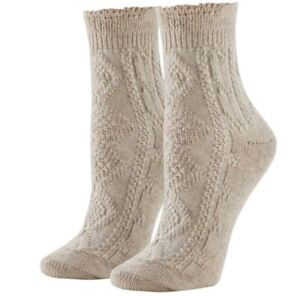 HUE® Women's Lightweight Cable Knit Ankle Boot Socks, Tan/Beige, Size: ONE SIZE