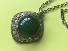 Vintage Miracle Pendant Necklace Scottish Celtic, Green Glass Malachite, signed