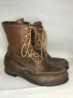 Vintage Men's Field & Stream Upland Moc Toe Boots Leather USA Sz 9.5 Hunting