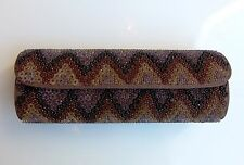 Blank london-clutch evening satin brown embroidered beaded in chevron