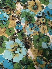 "4 NOS Vintage Barkcloth Drape Curtain MCM Atomic 28"" x 44"" flowers blue greens"