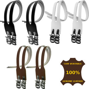 TOE STRAPS PAIR REAL LEATHER DOUBLE PEDAL CYCLE BIKE VINTAGE L'EROICA SHOES