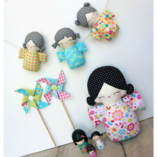 Melly & Me - Kokeshi Family SEWING PATTERN - Softie Toy Cute Boys Girl