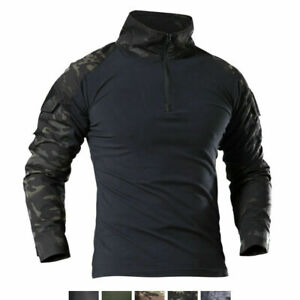 Airsoft Mens Military T-Shirt Tactical Army Combat Shirt Casual Zip Shirt Camo