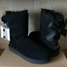 UGG CUSTOMIZABLE SHORT BAILEY BOW RIBBON BLACK SUEDE BOOTS SIZE 9 WOMENS