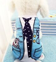 Cute Dog Pajamas Cozy Cotton For Small Dog Pajamas Dog Clothes Blue-Medium