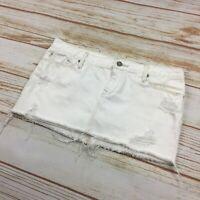 Abercrombie & Fitch Jean Mini Skirt Women's Size 4 White Denim Distressed Short