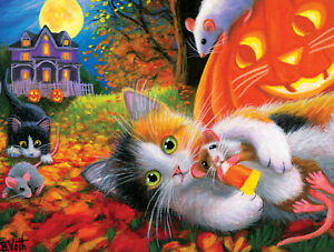 HALLOWEEN FUN WITH FRIENDS by BRIDGET VOTH SunsOut 300 LARGE piece puzzle - NEW