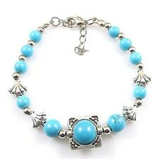 HOT Free shipping New Tibet silver multicolor jade turquoise bead bracelet S96