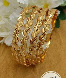 Indian Pakistani Gold Plated Broad Bangles Size 2.4
