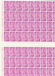 s34971 ITALIA 1948 MNH Risorgimento L.4 Foglio intero + interspazio blocco da 40
