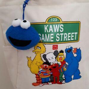 KAWS Sesame Street Canvas Tote 2 Way Bag Beige +Cookie Monster Plush Charm