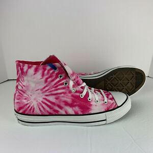 NEW Converse Chuck Taylor All Star Hi Tie Dye Pink White Mens Shoes Sneakers