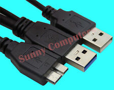 External Micro USB 3.0 Hard Drive Cable Portable HDD Cord Copper Core Dual USB