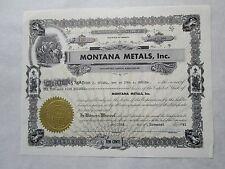 Montana Metals, Inc.    An Oregon Corporation
