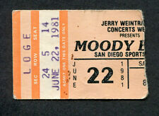 1981 Moody Blues concert ticket stub San Diego Ca Long Distance Voyager