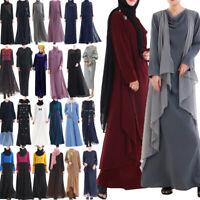 New Women Muslim Long Sleeve Dress Loose Vintage Islamic Abaya Kaftan Robe Gown