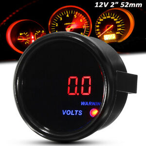 2'' 52mm Car Auto Motor Digital LED Display Voltage Volt Gauge 8V-18V  ·~