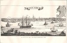 NEW YORK. (from Popple's American Atlas, 1730) c1880 old antique print picture
