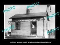 OLD LARGE HISTORIC PHOTO OF FEDERMAN MICHIGAN, THE RAILROAD DEPOT STATION c1910