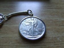 40-45 Silver Walking Liberty Half Dollar Locking Keychain, High grade rare coin!
