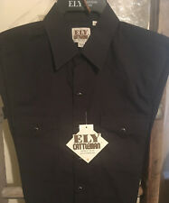 Western Ely Cattleman Men's Long Sleeve Snaps Shirt Easy Care Black 15202905-89