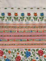 Vintage Pilowcase Tyrolean Floral Stripe Orange Red Blue Standard Size
