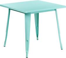 "31.5"" Square Industrial Style Mint Green Metal Indoor & Outdoor Restaurant Table"