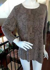 CITIKNITS Slinky Travelers Knit Top Tunic Asymmetrical Brown Swirl NWOT L