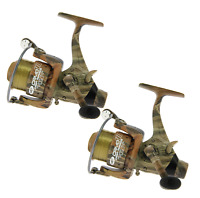 2 x NGT Camo Size 60 Carp Runner Fishing Reel With Line & Spare Spool 3 Bearing