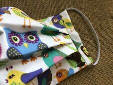 Colorful Birds on White Pleated Fabric Face Mask with Slot for Filter, Nose Wire